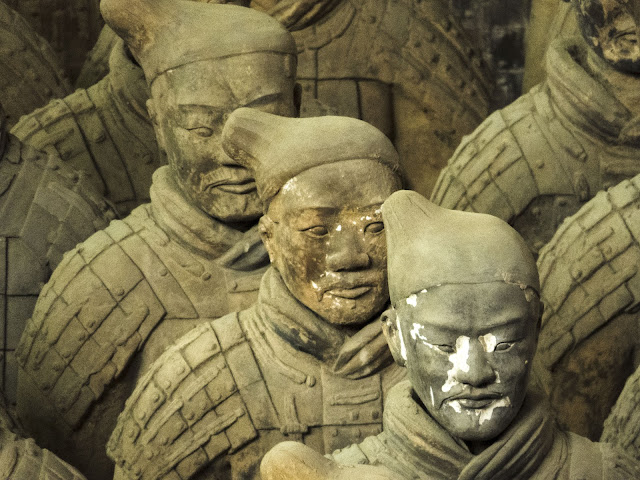 Different faces of the terracotta warriors near Xi'an China