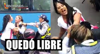 Dejan en libertad a mujer que 'mechoneó' a guardas de tránsito