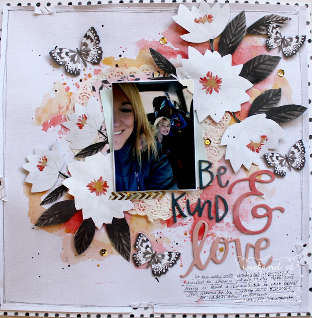 """ Be Kind & Loving "" layout by Bernii Miller using the Hazlewood collection by 1 canoe 2 - American Crafts."