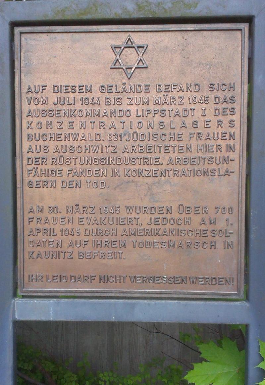 7364e2abd278e2 Gedenktafel Außenkommando Lippstadt des KZ Buchenwald (1944 bis 1945)