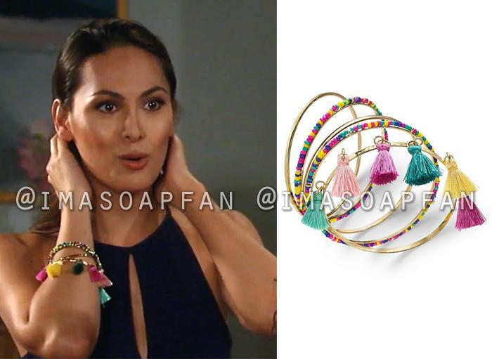 Terry Randolph, Cassandra James, Beaded and Tassel Embellished Bangle Bracelets, General Hospital, GH