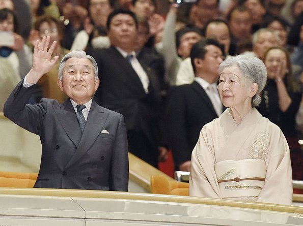 Emperor Akihito and Empress Michiko attended the opening of the New Year Grand Sumo Tournament at the Ryogoku Kokugikan