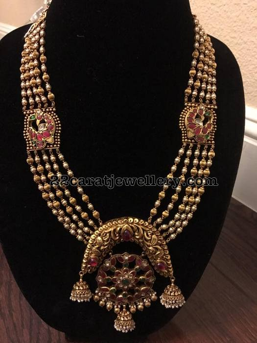 Pearls and Beads Set with Jhumka Pendant