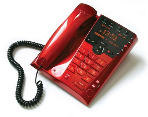 Телефон с АОН Палиха П-750 DECT красный стильный аппарат разработанный дизайнерской студией Артемия Лебедева