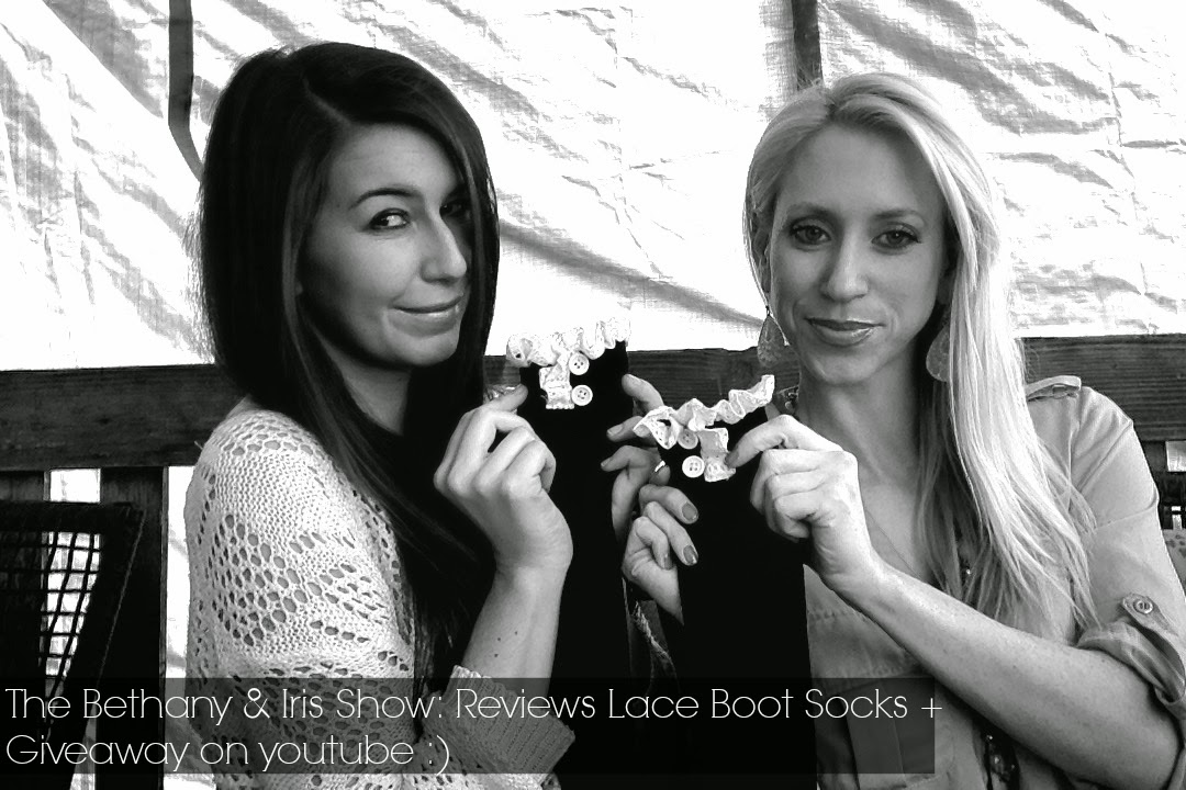 the bethany and iris show, giveaway, boot socks, boot socks review, fiorelle boutique, cute socks, youtube videos, vloggers,