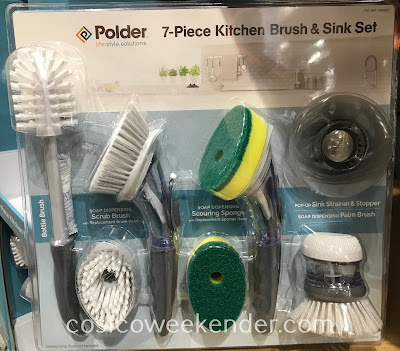 Easily do the dishes with the Polder 7-piece Kitchen Brush & Sink Set