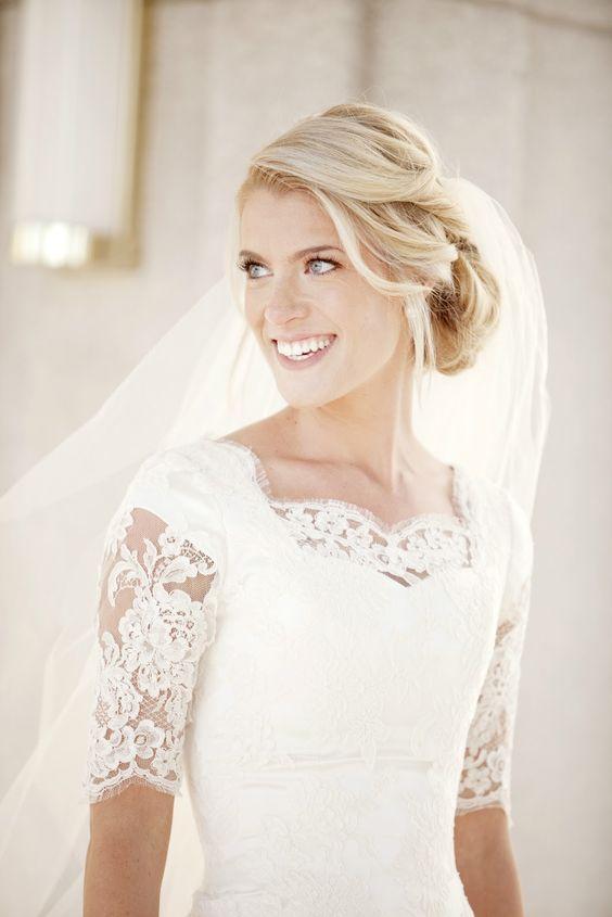 abito da sposa elegante con pizzo