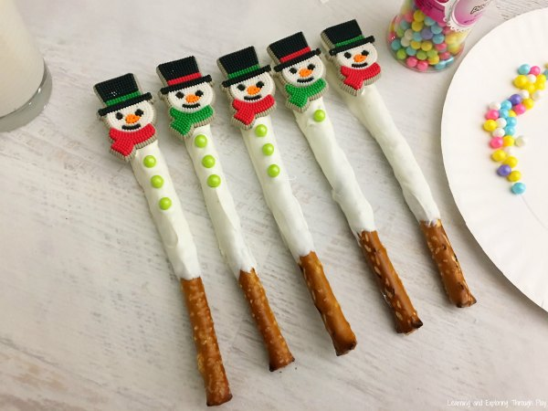Snowman Pretzel Rod Snacks