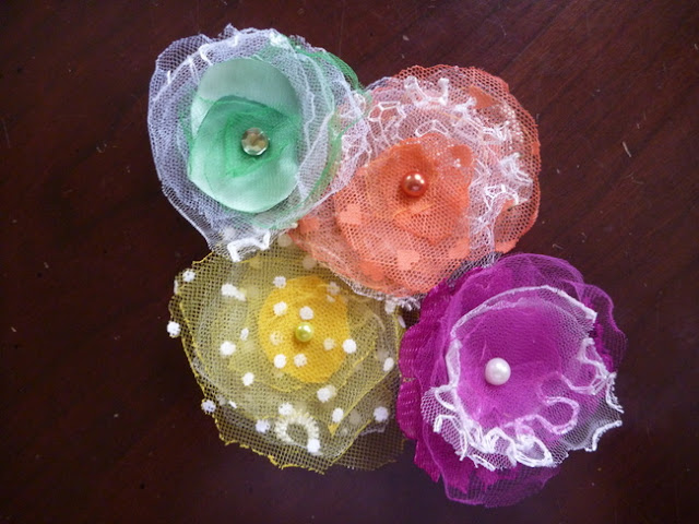 Colorful Handmade Flowers with Layers of Lace, Netting, and Tulle