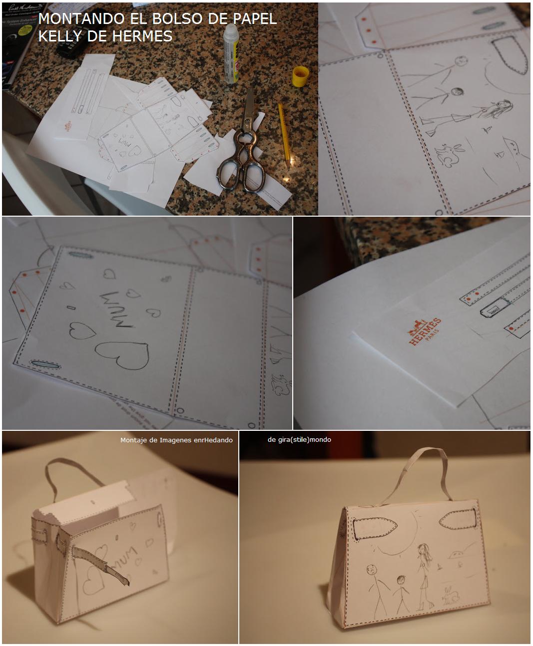 bolsos de Hermés de papel, construir bolsos de papel, plantillas bolsos hermés