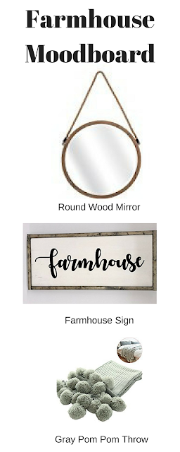 farmhouse decor moodboard mirror sign pom-pom blanket
