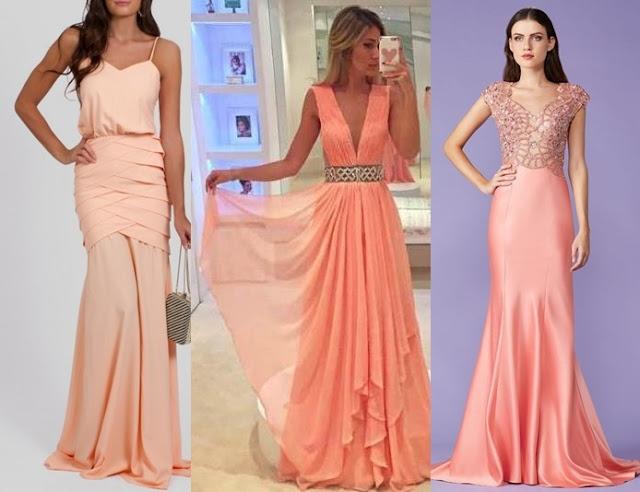 vestido de festa coral 2017