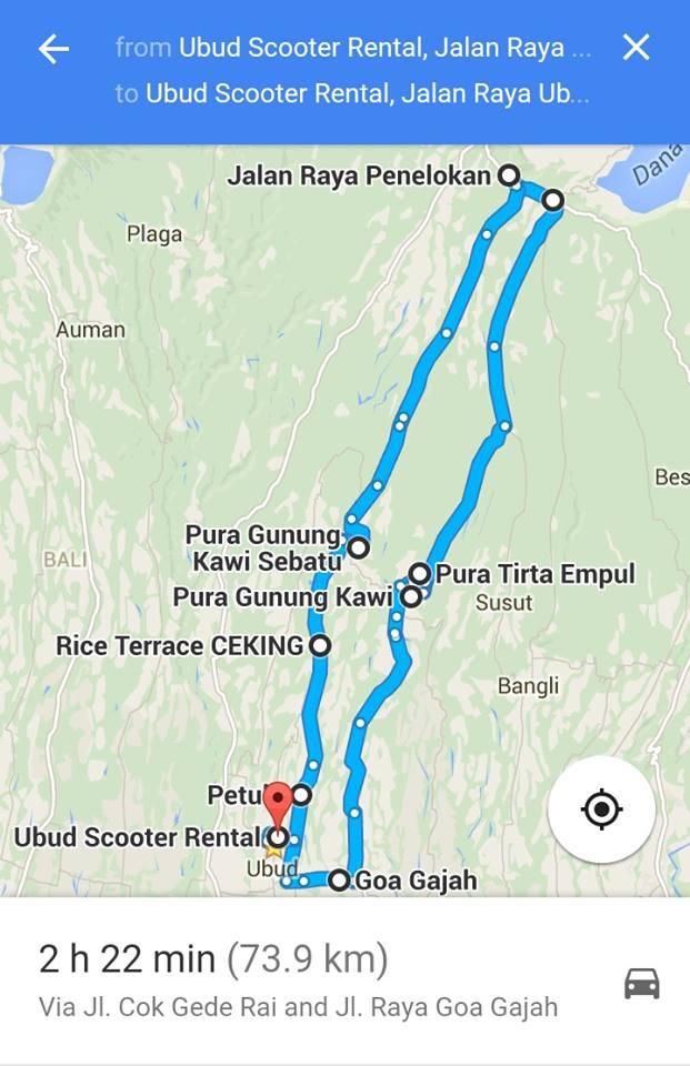 One Day Trip Map Ubud Scooter Rental