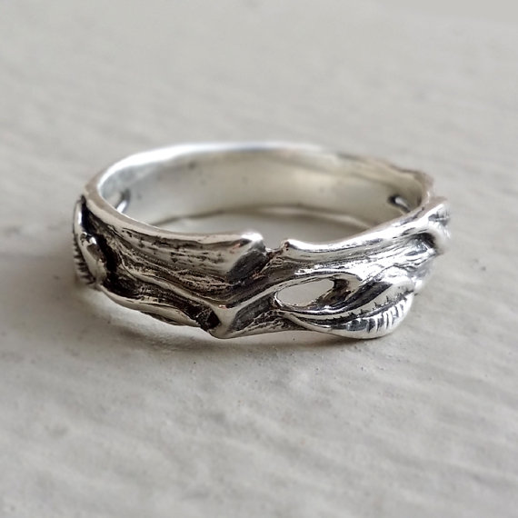 Hand Sculpted Leaf Twig Wedding Band