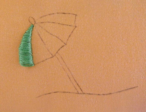 umbrella, embroidery,