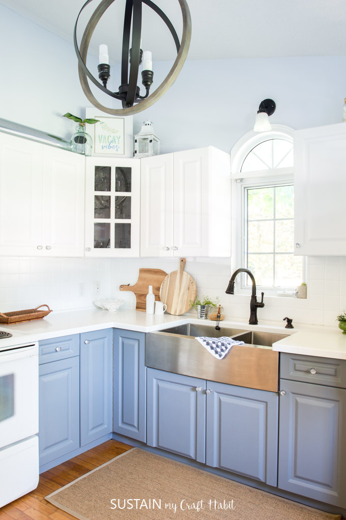 Two-toned gray and white kitchen makeover