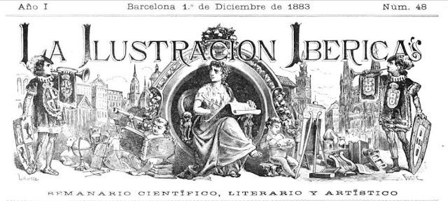 Cabecera del semanario barcelonés La Ilustración Ibérica