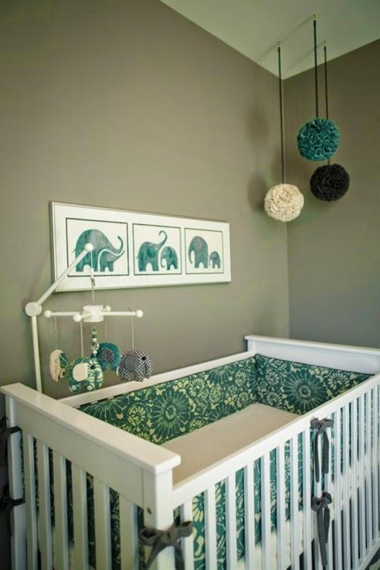 Dormitorios de beb en turquesa y gris dormitorios - Habitacion bebe original ...