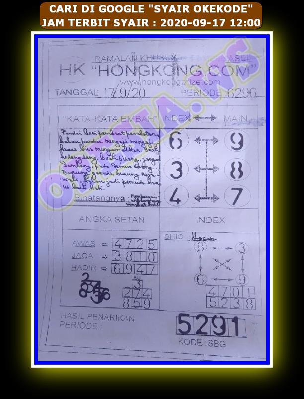 Kode syair Hongkong Kamis 17 September 2020 75