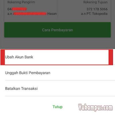 ubah akun bank tokopedia