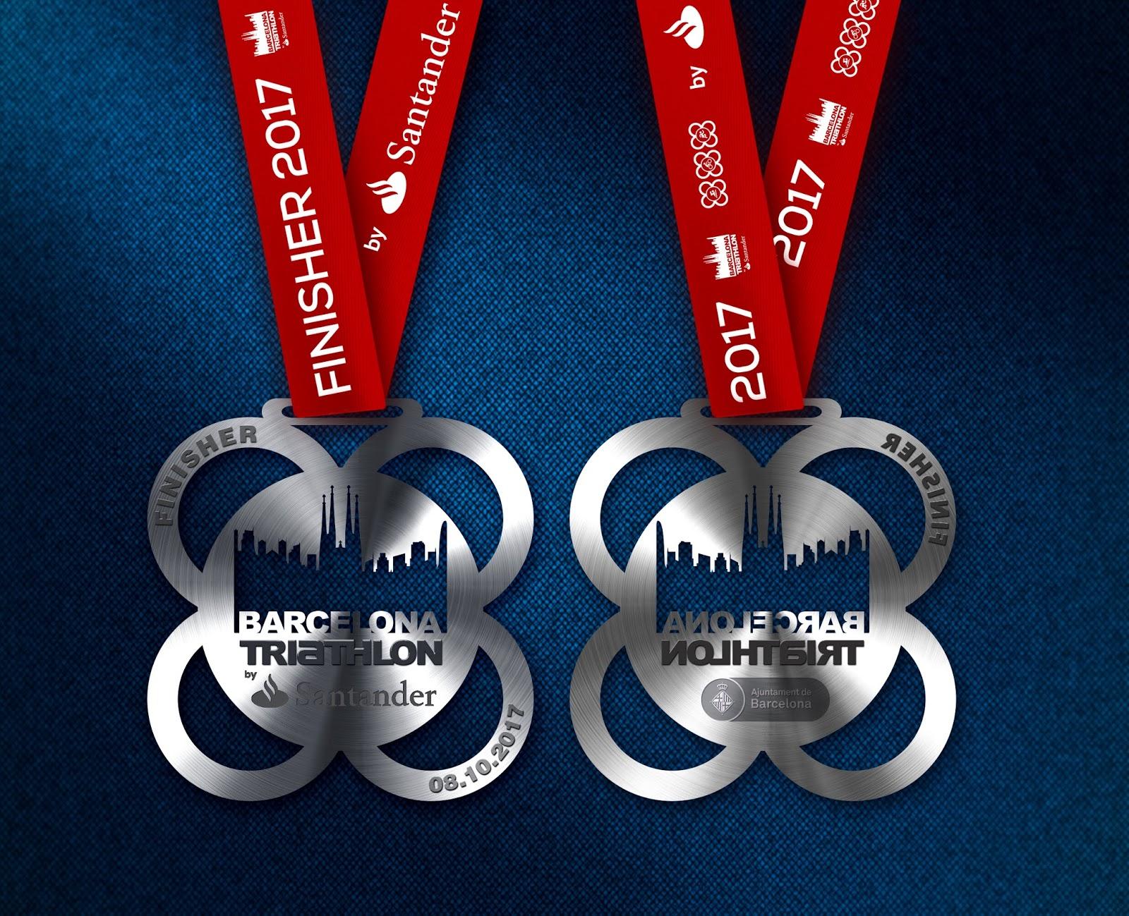 Medalla finisher Barcelona Triathlon by Santander 2017