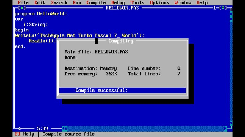 TÉLÉCHARGER TURBO PASCAL 1.5 FRANCAIS WINDOWS 7