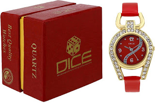 Dice Women's Analogue Red Dial Watch