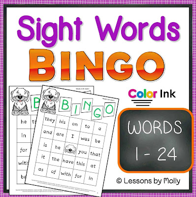 https://www.teacherspayteachers.com/Product/sight-words-BINGO-words-1-through-24-COLOR-ink-317828