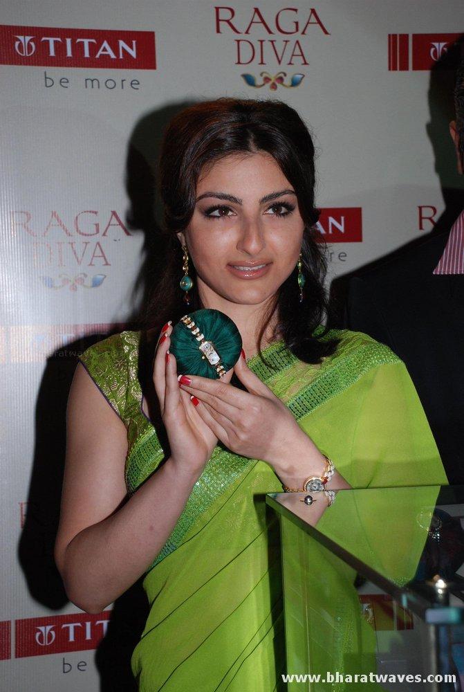 Indian Actress Soha Ali Khan Transparent Green Saree Full -6010