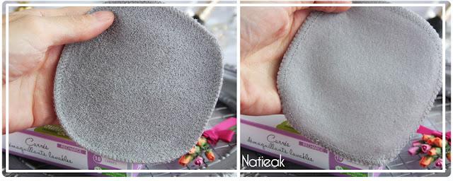 carrés démaquillants lavables gris biface spécial yeux