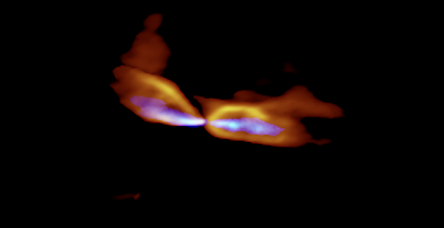 ALMA image of the protostar MMS5/OMC-3. The protostar is located at the center and the gas streams are ejected to the east and west (left and right). The slow outflow is shown in orange and the fast jet is shown in blue. It is obvious that the axes of the outflow and jet are misaligned.  Credit: ALMA (ESO/NAOJ/NRAO), Matsushita et al.