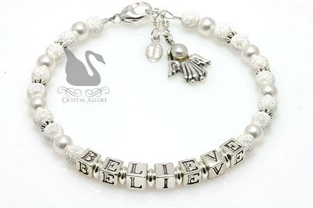 Believe Pearl Stardust Angel Charm Bracelet (B208)
