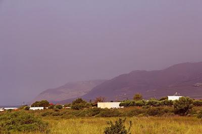 Sahara dust, road to Anopolis and Livaniana village