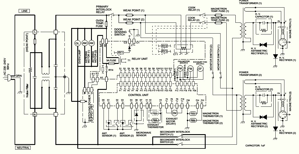 electro help microwave oven circuit diagram sharp model r. Black Bedroom Furniture Sets. Home Design Ideas