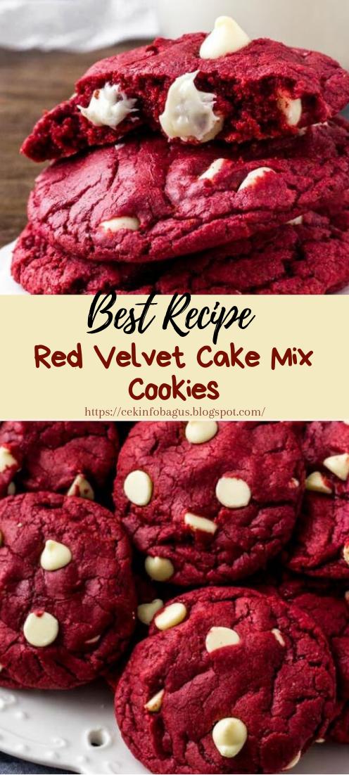 Red Velvet Cake Mix Cookies #desserts #cakerecipe