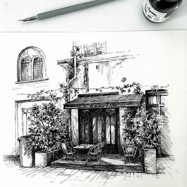 11-Outdoor-Cafe-sketches-Asmik-Babaian-www-designstack-co