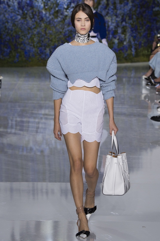 Christian Dior 2016 SS RTW Serenity Blue Cropped Sweater on Runway
