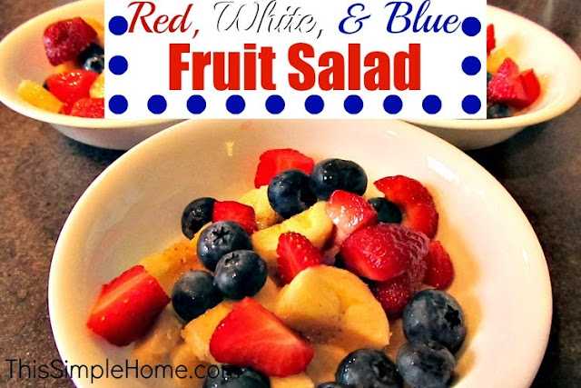 Strawberries, blueberries, and bananas make a patriotic fruit salad.