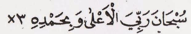 Subhaana  rabbiyal-a'laa  wa  bihamdih