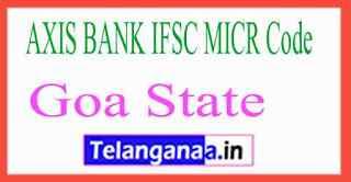 AXIS BANK IFSC MICR Code Goa State