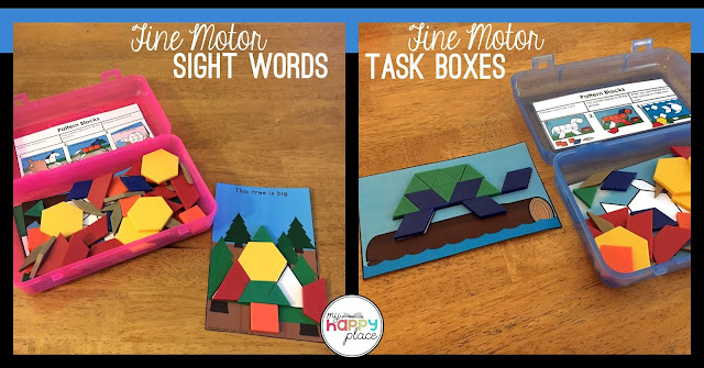 pattern blocks sight words and fine motor task boxes