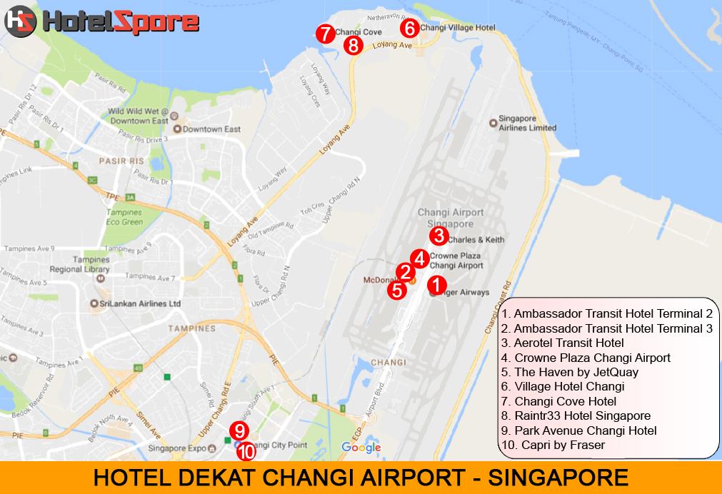 10 hotel dekat Bandara Singapore, Changi Airport, baik itu hotel transit, hotel harian maupun hotel di luar bandara namun dekat Changi Airport.
