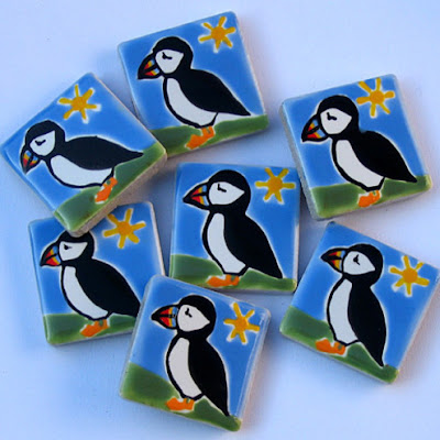 tile magnets with puffins