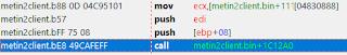 Daha sonra call yazan yere çift tıklayın sizi fonksiyon adresine atacaktır.