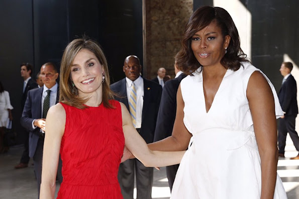 Queen Letizia met with US First Lady Michelle Obama - Let Girls Learn. Queen Letizia wore Nina Ricci Dress - Pre-Fall 2016