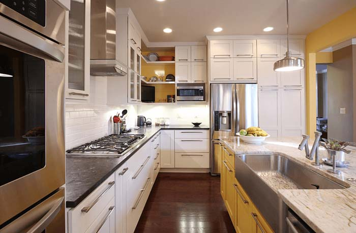 sarı beyaz mutfak dolapları