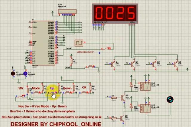 Mạch đếm sản phẩm Setup Nút Bấm Sử Dụng AT89C52 Led 7 Đoạn