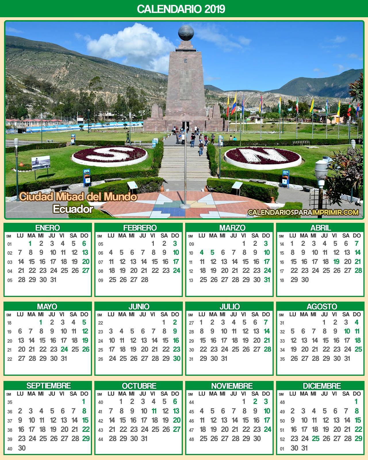 calendario ecuador 2019