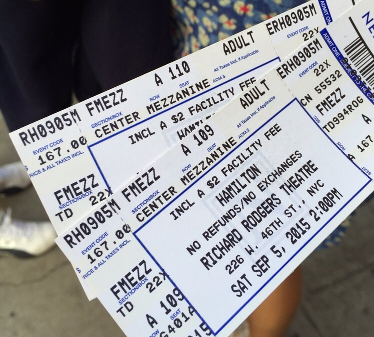 Tickets: JK's TheatreScene: #MyBroadwayThing : Actual Tickets