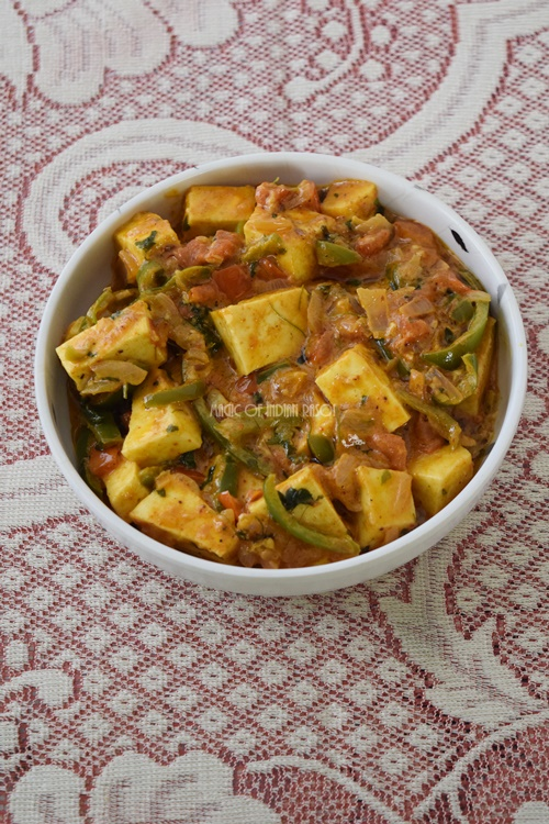 Paneer Kadai Sabzi in Microwave Recipe- Magic of Indian Rasoi - Priya R